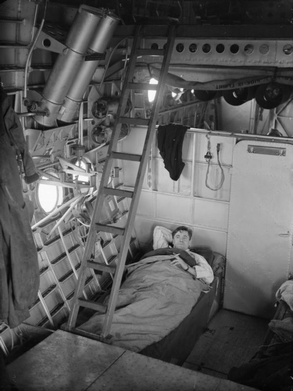 Sleeping quarters - port side (bomb bay visible behind bulkhead & ladder leads up to gunnery positions)