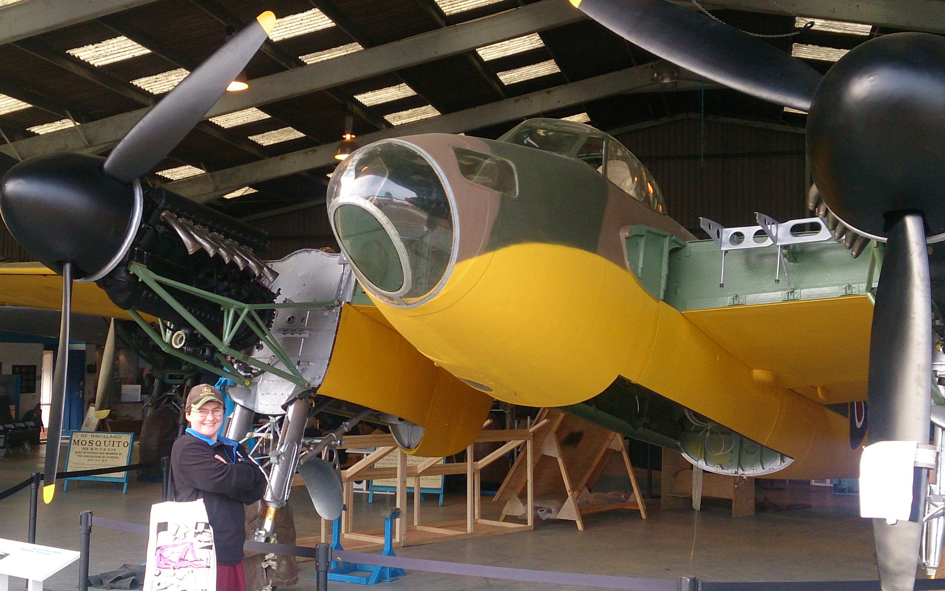 Sandra Lindsey with DeHavilland Mosquito prototype